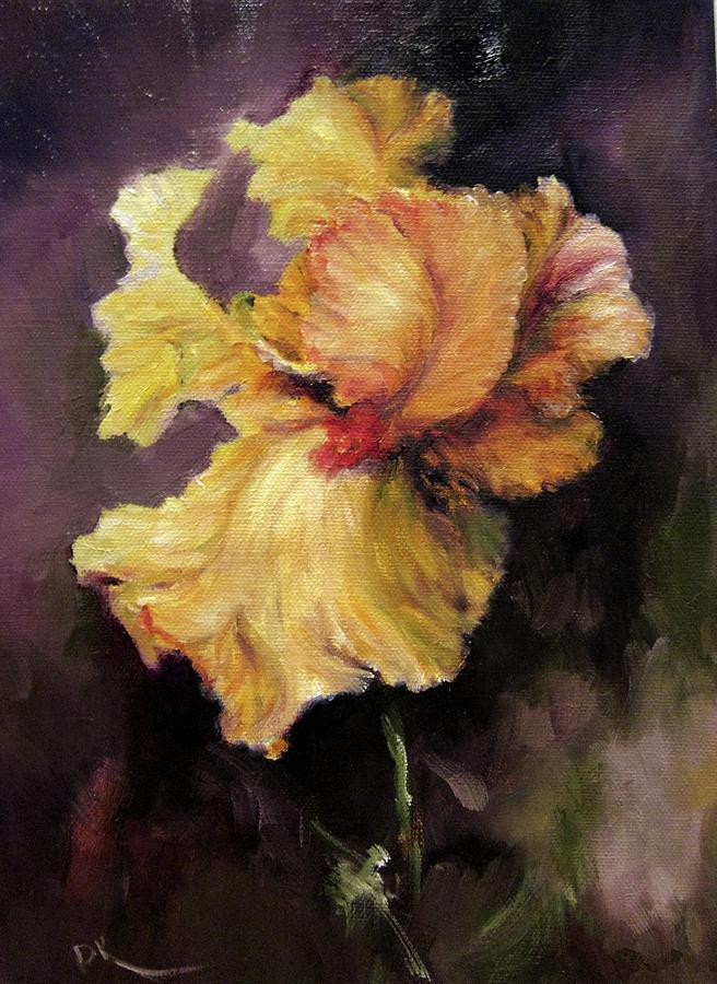 Iris Painting - Iris Gold by Diane Kraudelt