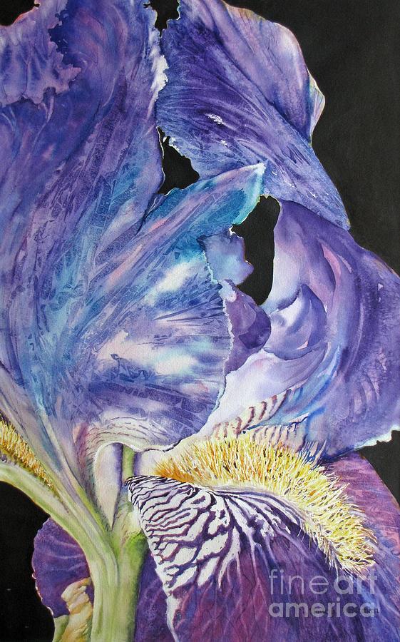 Purple Painting - Iris-in-focus by Nancy Newman