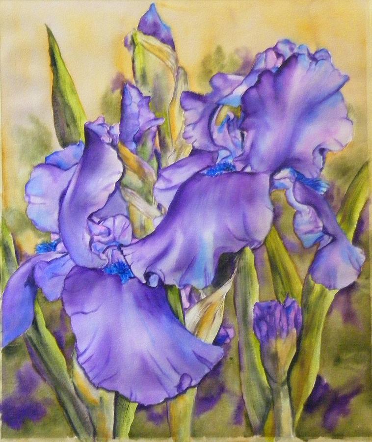 Iris in purple Painting by Diane Ziemski