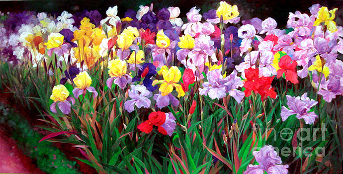 Floral Painting - Iris Party by Bo Li