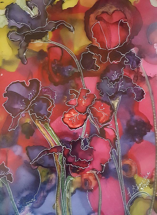 Irises Painting - Irises and Blueberries by Lucy Giboyeaux by Lucy Giboyeaux