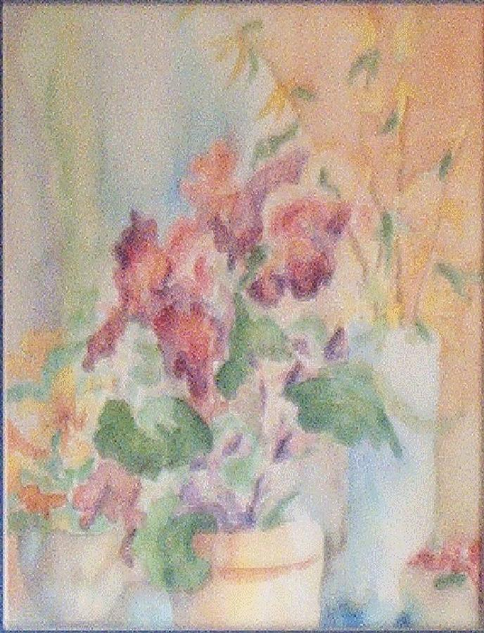 Watercolor Painting - Irises And Company by Sheri Hubbard