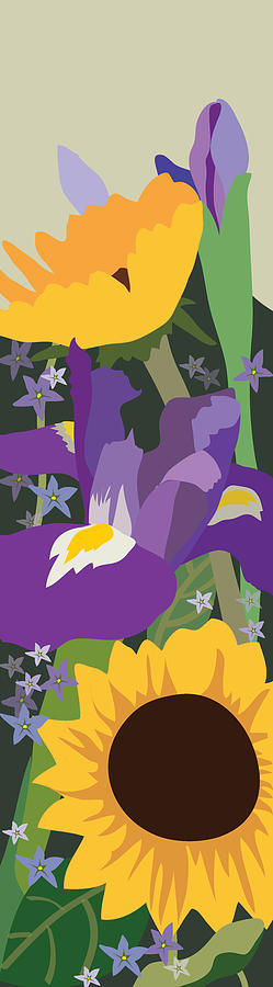 Flowers Painting - Irises and Sunflowers by Marian Federspiel