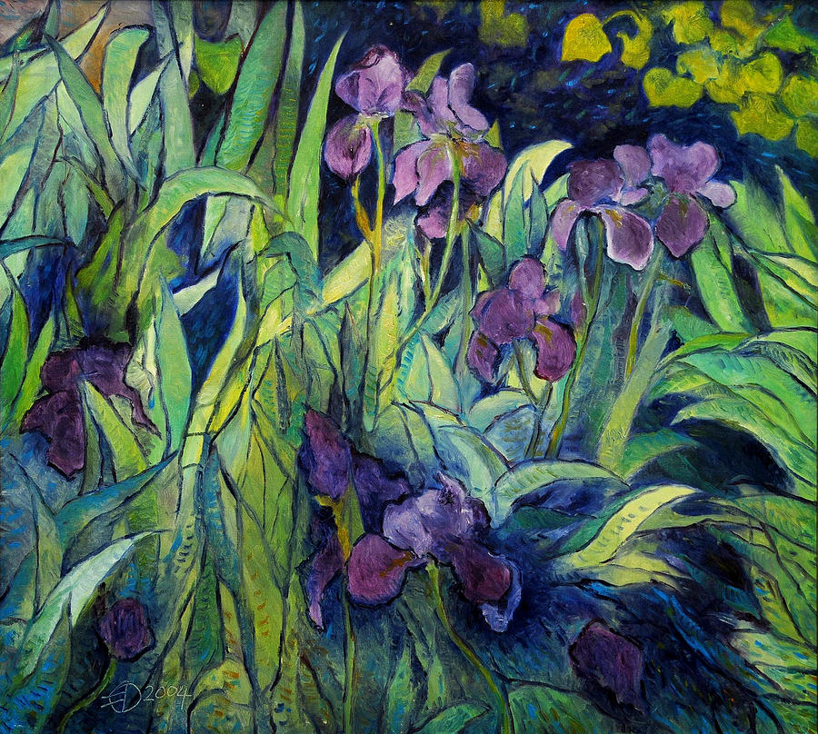 Irises At High Altitude Auribeau France 2004   Painting by Enver Larney
