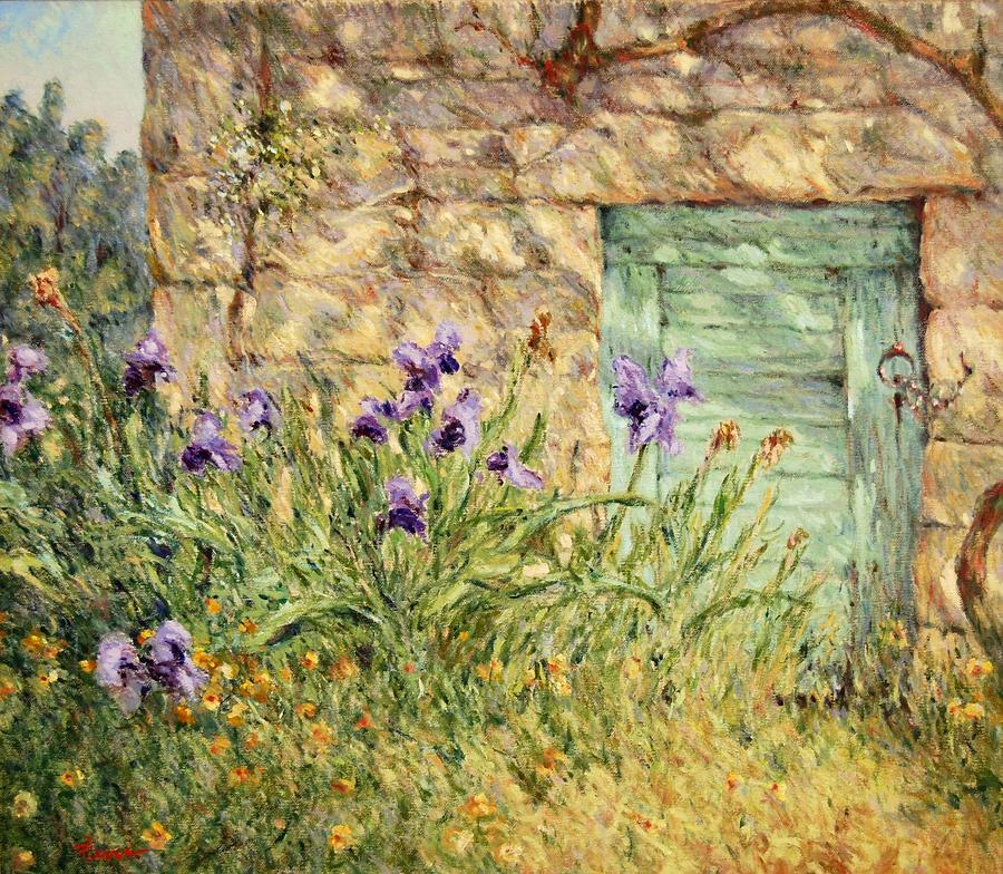Irises at the old barn by Pierre Van Dijk