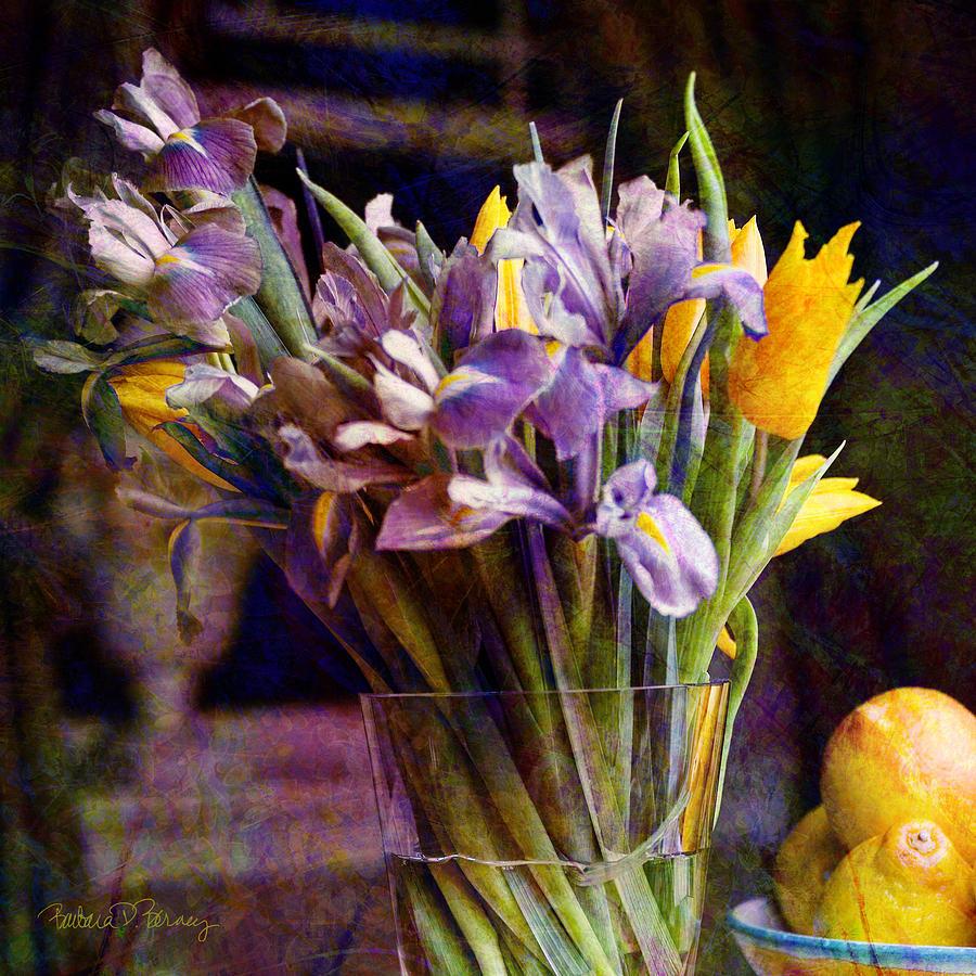 Purple Digital Art - Irises In A Glass by Barbara Berney