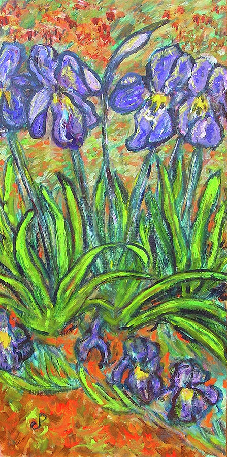 Iris Painting - Irises In A Sunny Garden by Carolyn Donnell