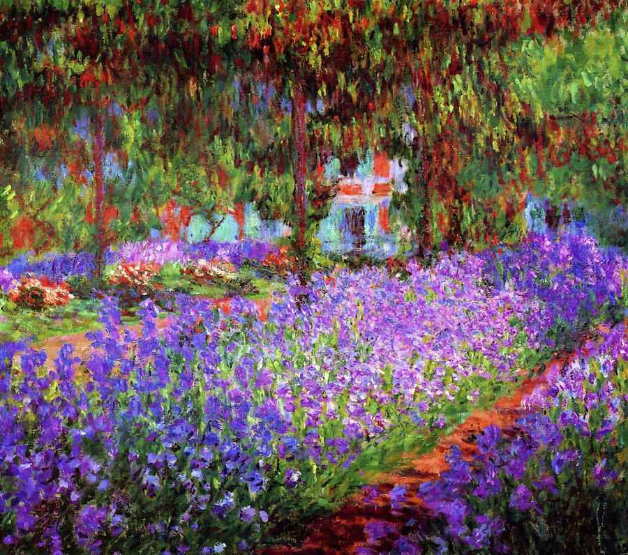 Irises In Monet\'s Garden At Giverny Painting by Claude Monet