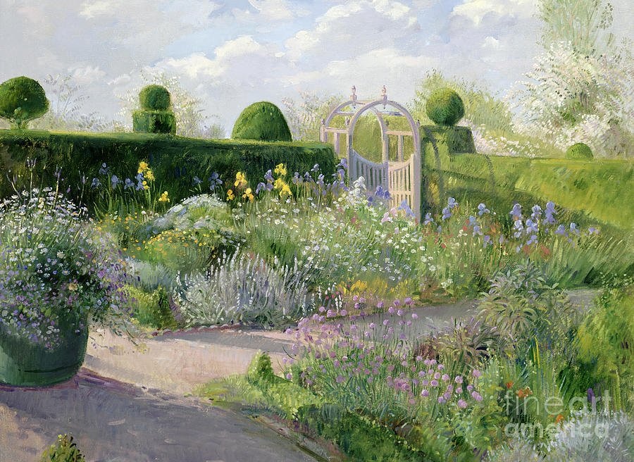 Herbaceous Painting - Irises in the Herb Garden by Timothy Easton