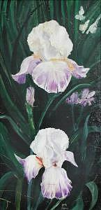Iris Painting - Irises In The Spot Light by Judy Loper
