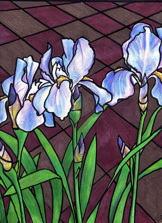 Flowers Painting - Irises On The Patio by Elisa Davis