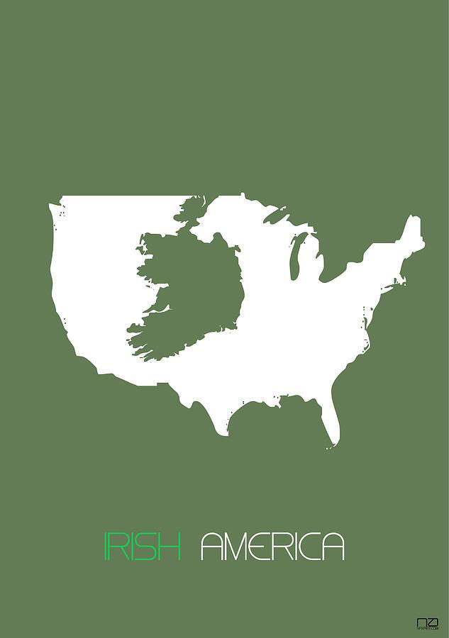 Irish Digital Art - Irish America Poster by Naxart Studio
