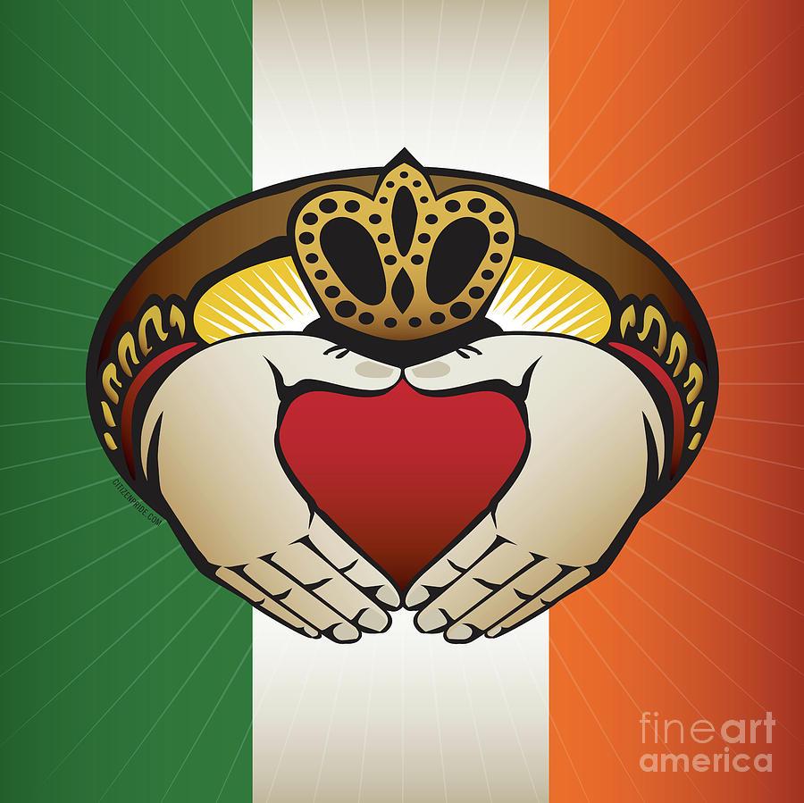 Irish Digital Art - Irish Claddagh Square Crest  by Joe Barsin