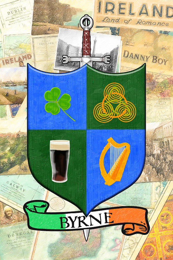Irish Digital Art - Irish Coat Of Arms - Byrne by Mark Tisdale