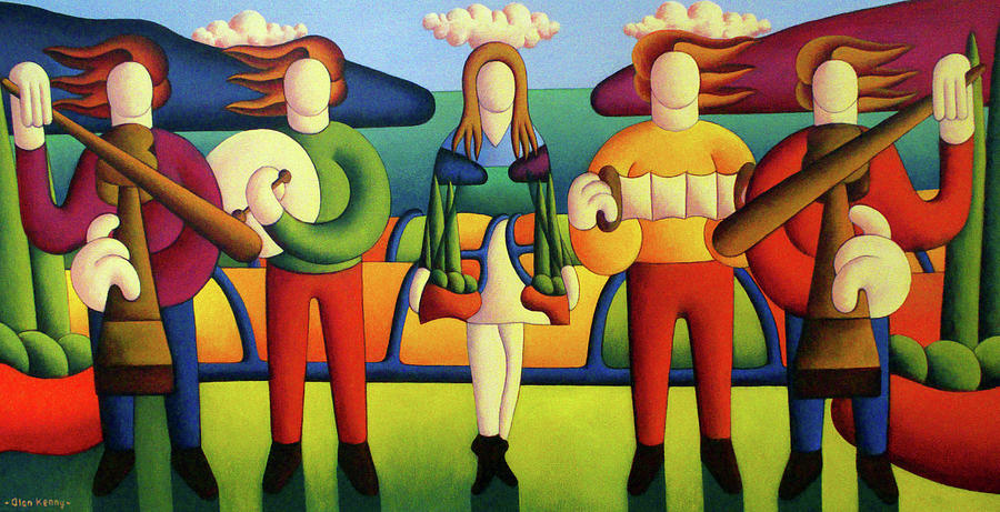 Irish Dancer with musicians in soft landscape by Alan Kenny