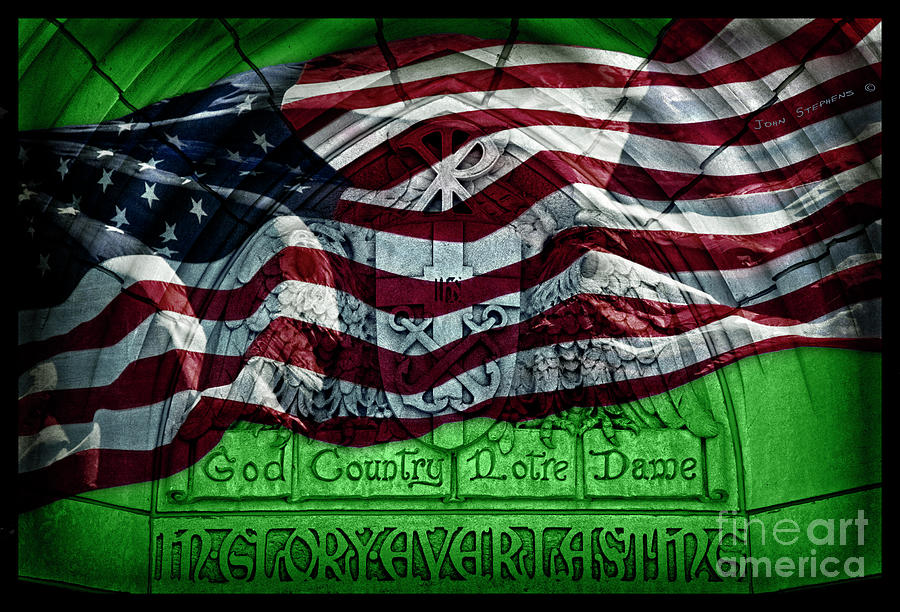 Irish Green God Country Notre Dame Red White Blue American Flag Photograph