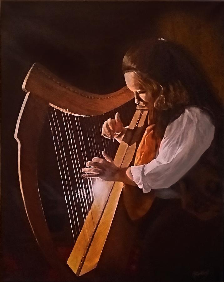 Acrylic Painting - Irish Harp by Sheryl Gallant