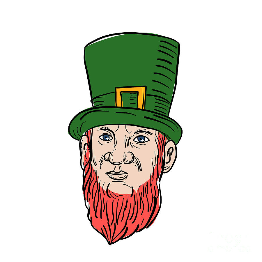 Drawing Digital Art - Irish Leprechaun Wearing Top Hat Drawing by Aloysius Patrimonio