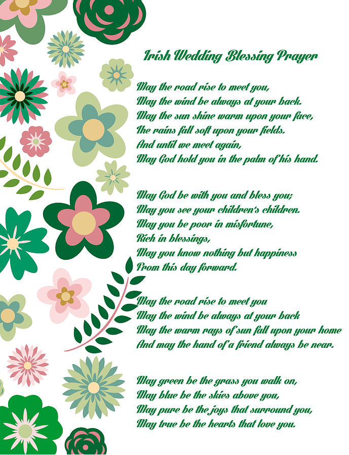 Irish Wedding Blessing Prayer Drawing By Celestial Images