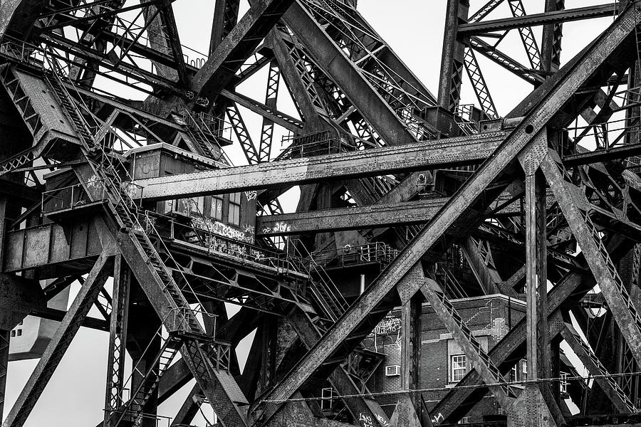 Chicago Photograph - Iron Bridge Close Up In Black And White by Anthony Doudt