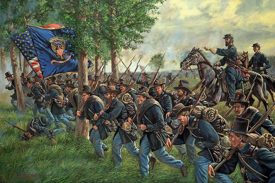 Maritato Painting - Iron Brigade Forward - 2nd Wisconsin infantry led by General John Reynolds - Battle of Gettysburg by Mark Maritato