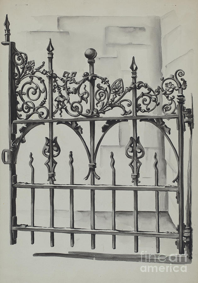Iron gate drawing by natalie simon