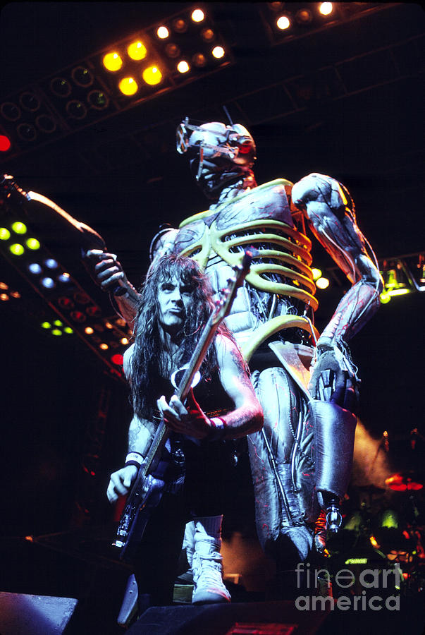 Iron Maiden Photograph - Iron Maiden 1987 Steve Harris And Eddie by Chris Walter