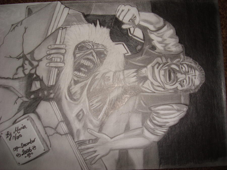 Iron Maiden Cover Art Drawing by Maria Vero