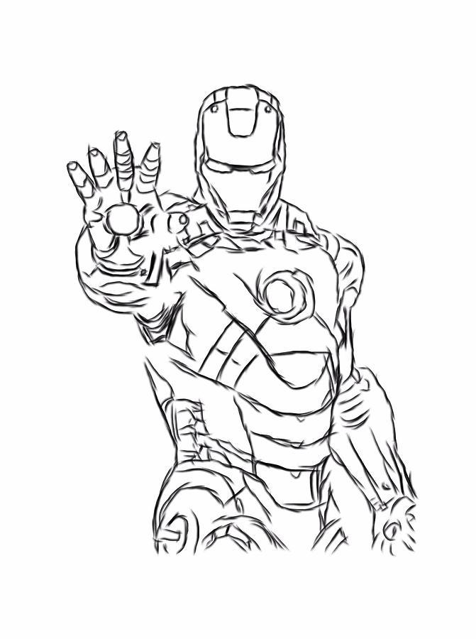 Iron Man Black Outline Digital Part 3 Digital Art By