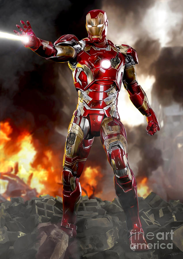 Iron Man Painting - Iron Man With Battle Damage by Paul Tagliamonte