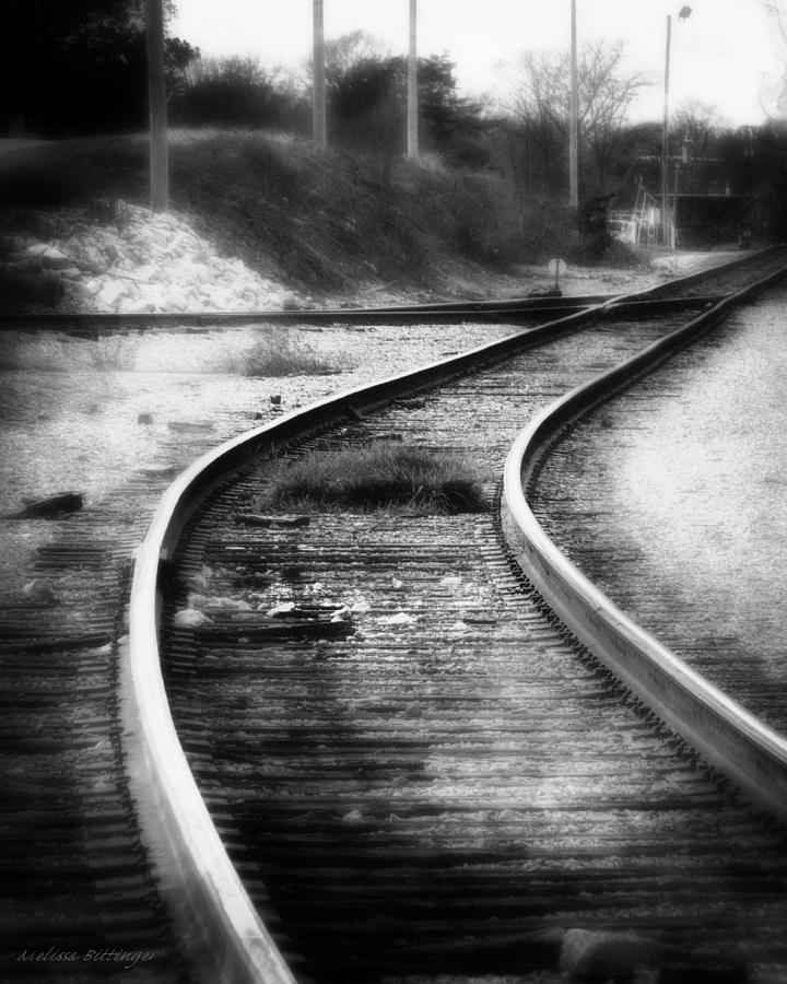 Train tracks photograph iron rail industrial rail yard black and white surreal photography by