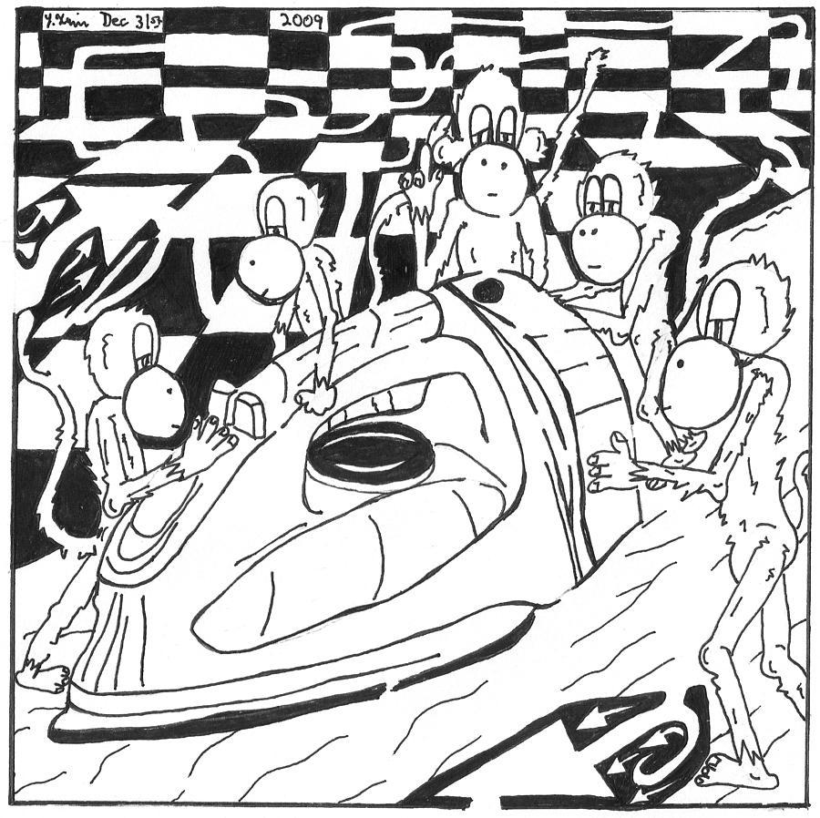 Monkeys Drawing - Ironing Monkeys Maze Cartoon by Yonatan Frimer Maze Artist