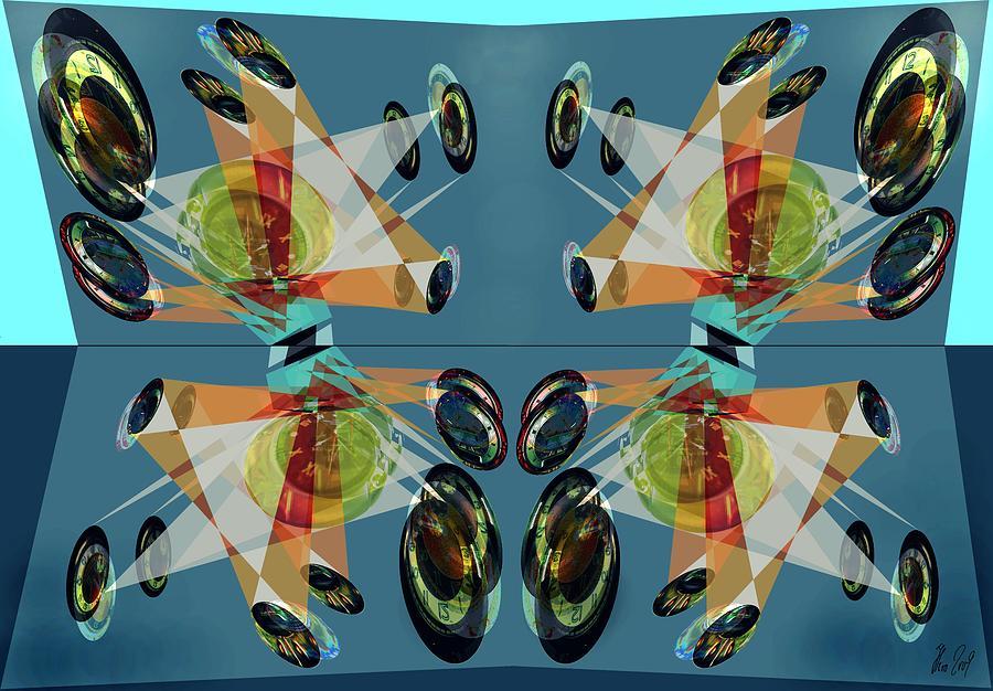 Mirror Digital Art - Irregular Mirrored Watches by Helmut Rottler