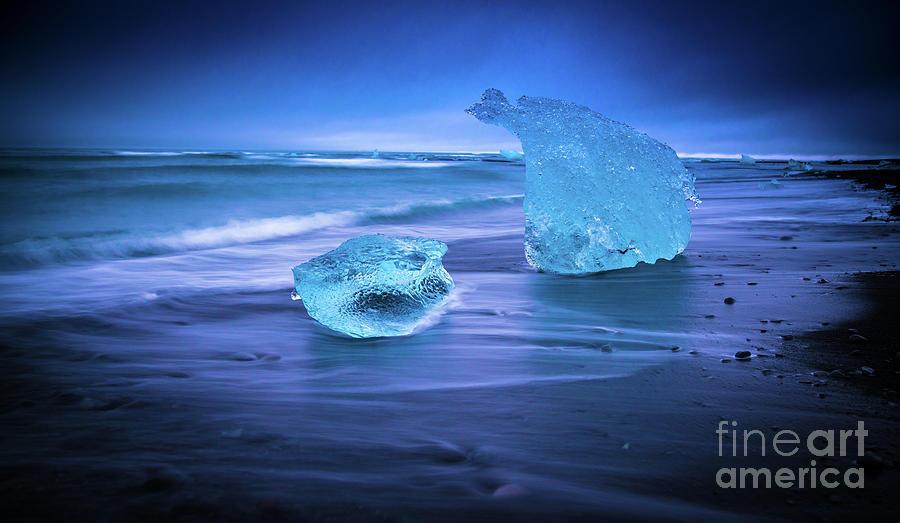 Iceland Photograph - Irridescent Jokulsarlon Blue Ice by Mike Reid
