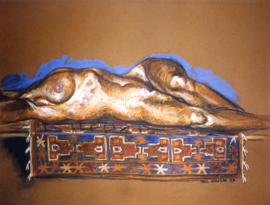 Nude Painting - Isabel on Afghan carpet by Paul Herman