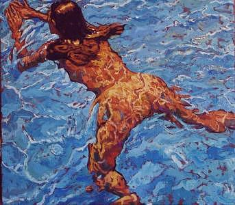 Nude Painting - Isabel Swimming by Paul Herman