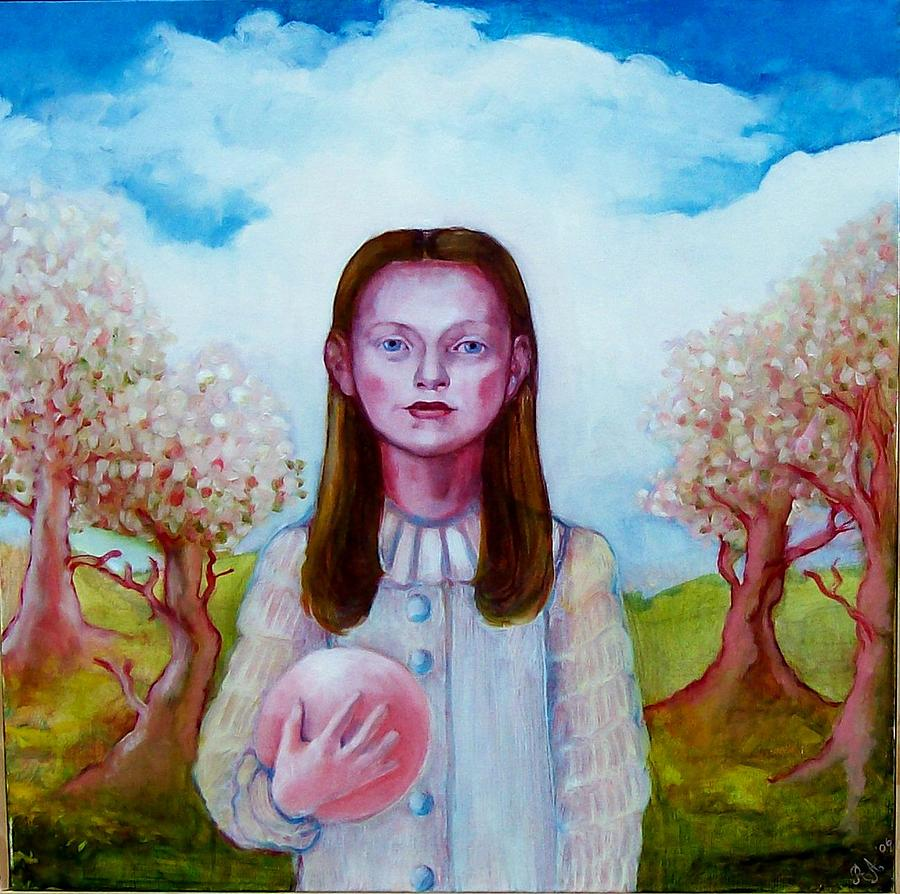 Figurative Painting - Isabel With Ball by Rachel Aponte