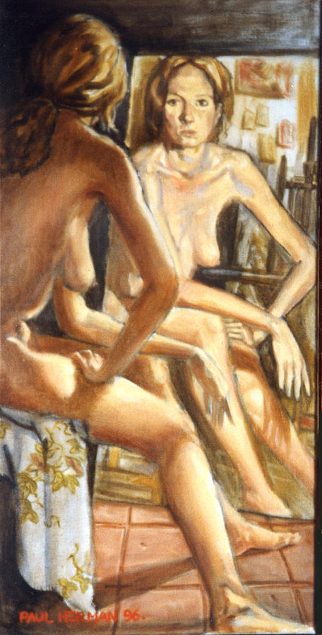 Nude Painting - Isabel with mirror by Paul Herman