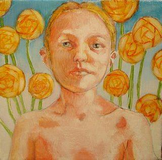 Flower Painting - Isabel With Orange Flowers by Rachel Aponte