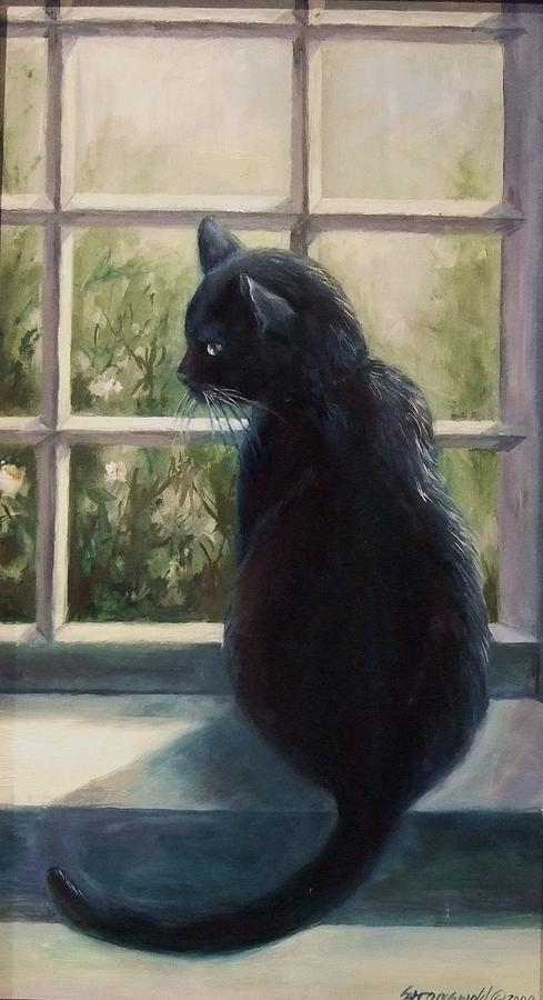 Cat Painting - Isabellas Window by Ruth Stromswold