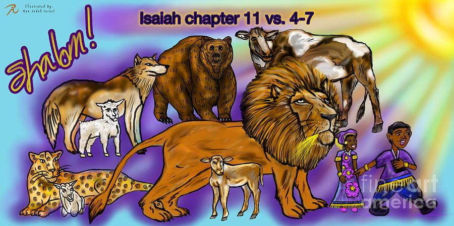Animals Painting - Isaiah 11 vs 4-7 by Robert Watson