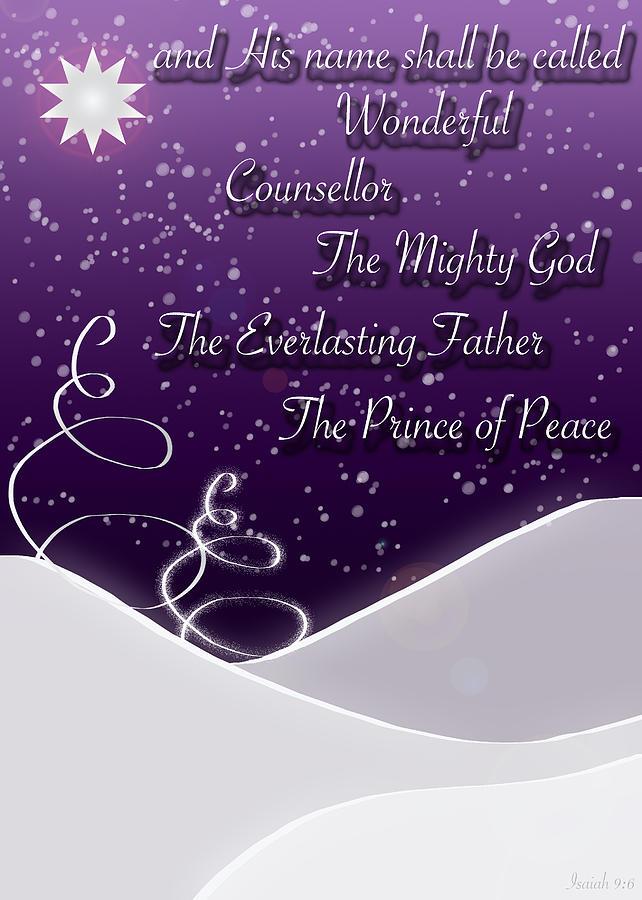 Isaiah 9:6 Digital Art - Isaiah Chapter 9 Verse 6 Christmas Card by Lisa Knechtel