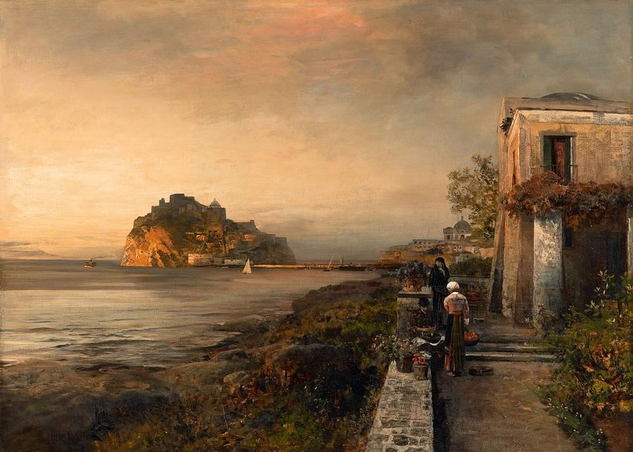 Oswald Achenbach Painting - Ischia With A View Of Castello Aragonese by MotionAge Designs
