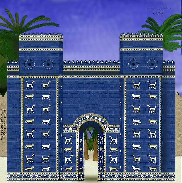 Ishtar Gate Painting - Ishtar Gate by Mike Sexton