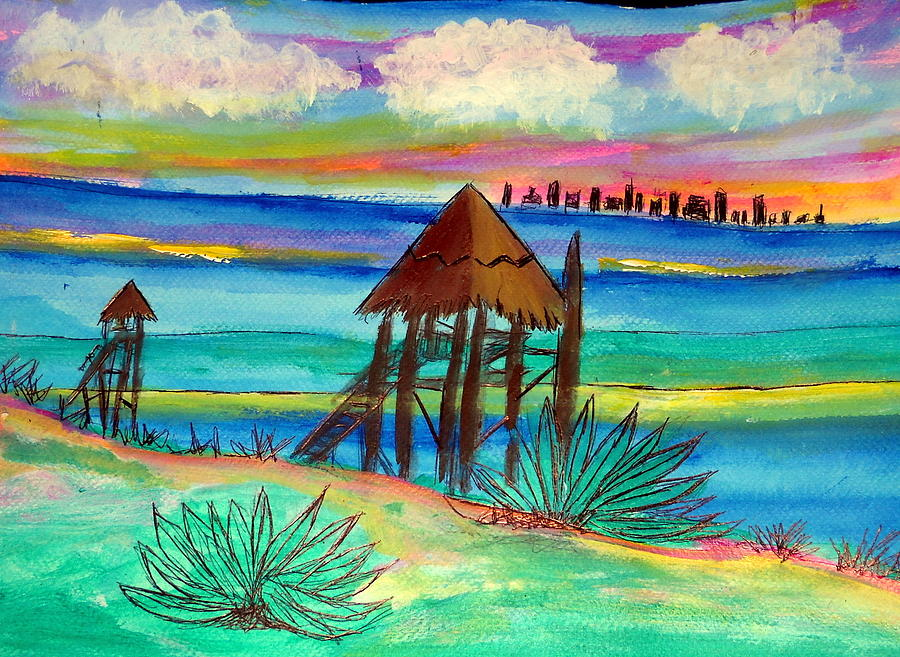 Isla Mujeres Cancun Bkg Painting by Ted Hebbler