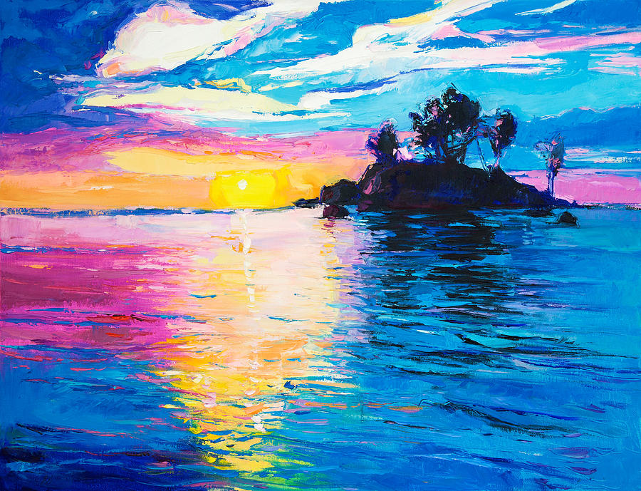 Island And Sea Painting