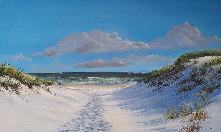 Seascape Painting - Island Beach Dune Walk by Ken Ahlering