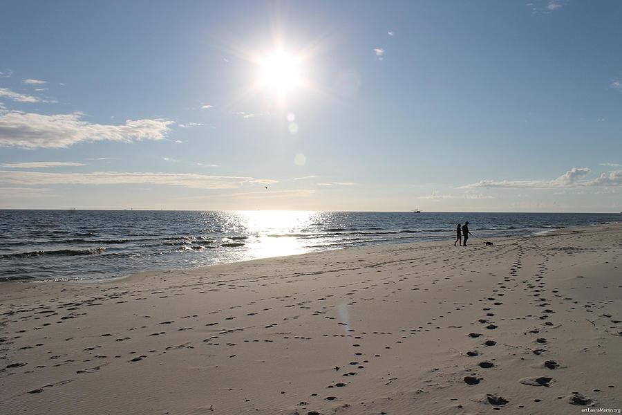 Beach Photograph - Island Beachwalkers by Laura Martin