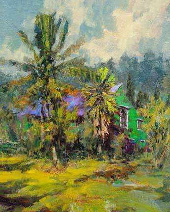 Landscape Painting - Island Green House - Hawaii by Rod Cameron
