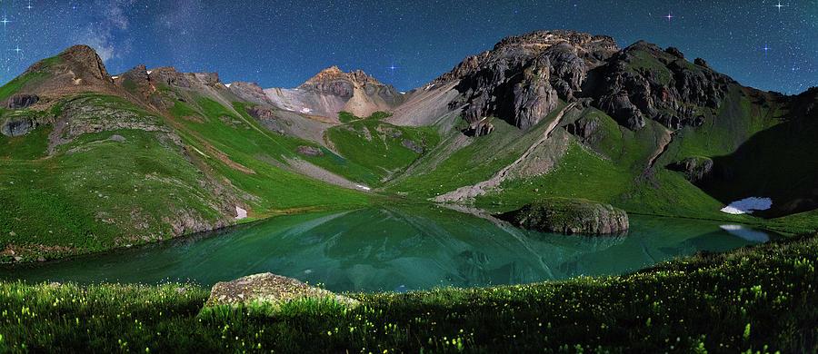 Island Lake Nightscape Panorama Photograph